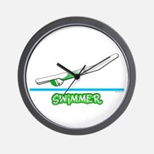 Swimmer (Girl) Green Suit Wall Clock