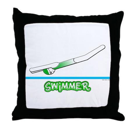 Swimmer (Girl) Green Suit Throw Pillow