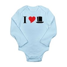 I Love Tophats Long Sleeve Infant Bodysuit