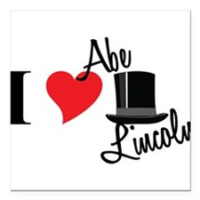 "I Love Abe Lincoln Square Car Magnet 3"" x 3"""