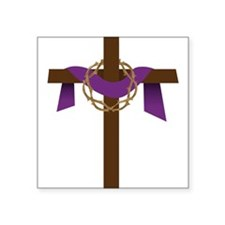 "Season Of Lent Cross Square Sticker 3"" x 3"""