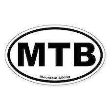 MTB (Mountain Biking) Oval Bumper Stickers