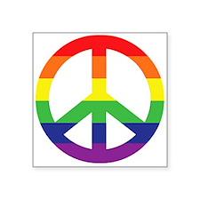 "Big Rainbow Stripe Peace Sign Square Sticker 3"" x"