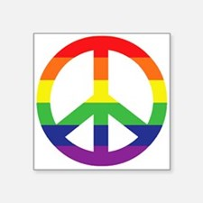 "Big Rainbow Stripe Peace Sign Square Sticker 3"" x"