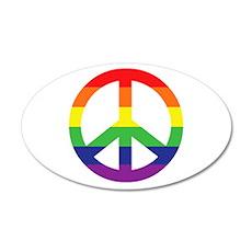 Big Rainbow Stripe Peace Sign Wall Decal