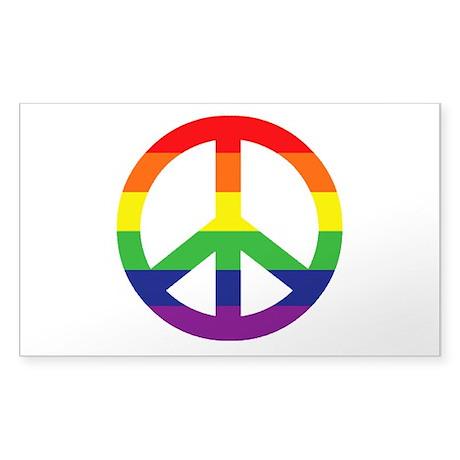 Big Rainbow Stripe Peace Sign Sticker (Rectangle)