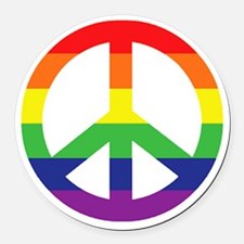 Big Rainbow Stripe Peace Sign Round Car Magnet