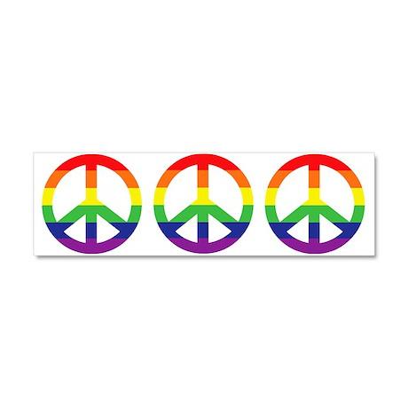 Big Rainbow Stripe Peace Sign Car Magnet 10 x 3