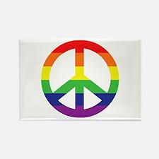 Big Rainbow Stripe Peace Sign Rectangle Magnet