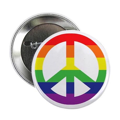 "Big Rainbow Stripe Peace Sign 2.25"" Button (10 pac"