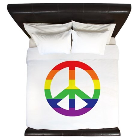 Big Rainbow Stripe Peace Sign King Duvet