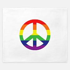 Big Rainbow Stripe Peace Sign King Duvet