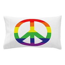 Big Rainbow Stripe Peace Sign Pillow Case