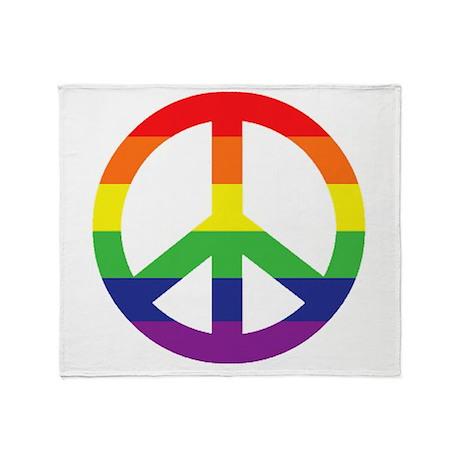 Big Rainbow Stripe Peace Sign Throw Blanket