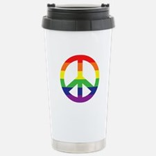 Big Rainbow Stripe Peace Sign Travel Mug