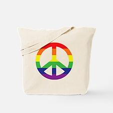 Big Rainbow Stripe Peace Sign Tote Bag
