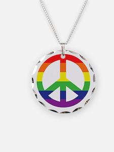 Big Rainbow Stripe Peace Sign Necklace