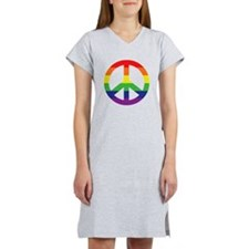 Big Rainbow Stripe Peace Sign Women's Nightshirt