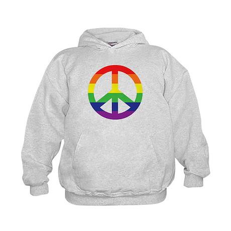 Big Rainbow Stripe Peace Sign Kids Hoodie