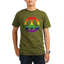 Big Rainbow Stripe Peace Sign T-Shirt