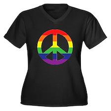 Big Rainbow Stripe Peace Sign Women's Plus Size V-