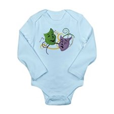 Mardi Gras Face Masks Long Sleeve Infant Bodysuit