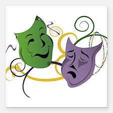 "Mardi Gras Face Masks Square Car Magnet 3"" x 3"""