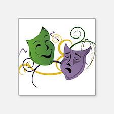 "Mardi Gras Face Masks Square Sticker 3"" x 3"""