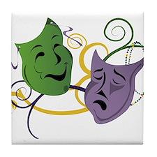 Mardi Gras Face Masks Tile Coaster