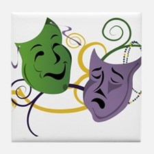 Mardi Gras Face Masks Tile Coaster