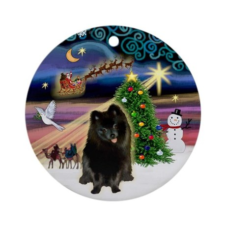 Xmas Magic & Black Pom Ornament (Round)