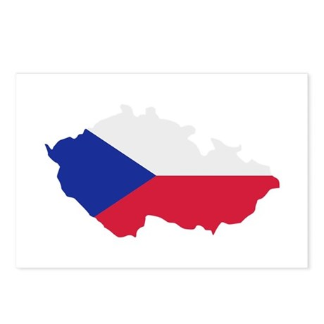 Czech Republic map flag Postcards (Package of 8)