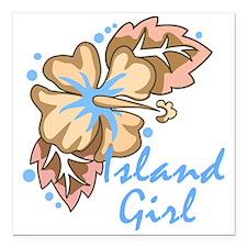 "Island Girl Square Car Magnet 3"" x 3"""