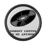 Nobody Listens Vinyl Large Wall Clock