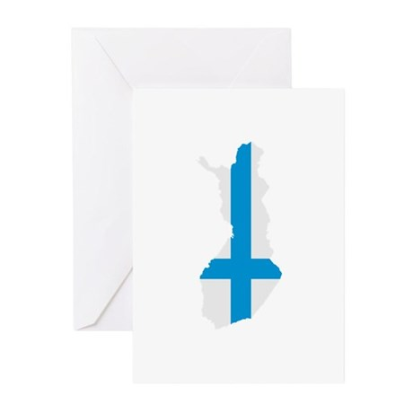 Finland map flag Greeting Cards (Pk of 10)