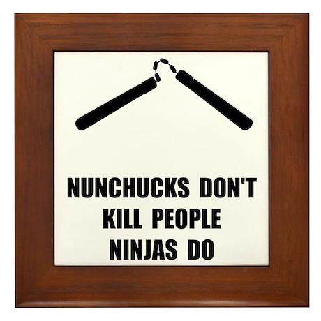 Nunchucks Ninja Framed Tile