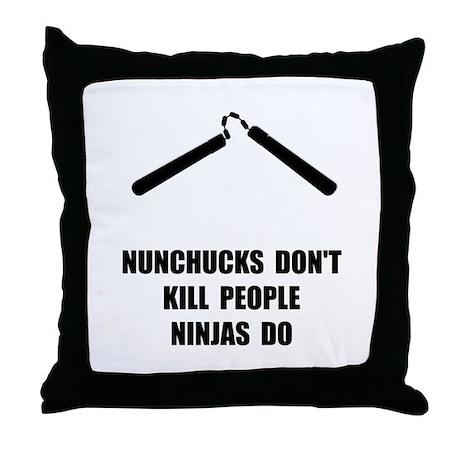 Nunchucks Ninja Throw Pillow