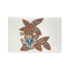 Tiki Floral Art Rectangle Magnet