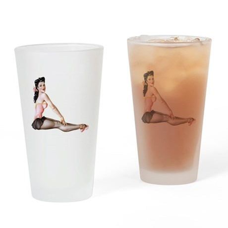 Pin Up Girl Dancer Drinking Glass