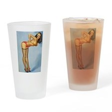 Pinup Girl Fishnets Drinking Glass