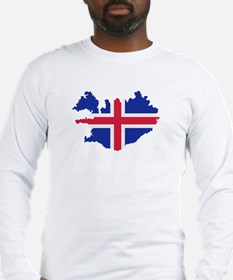 Iceland map flag Long Sleeve T-Shirt