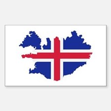 Iceland map flag Sticker (Rectangle)