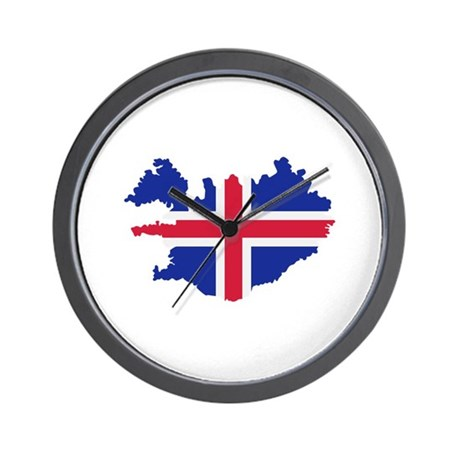 Iceland map flag Wall Clock