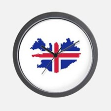 Iceland map flag Wall Clock