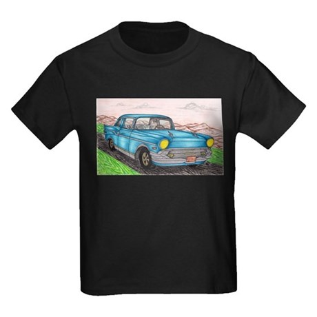 57' Chevy Belair Original Drawing Kids Dark T-Shir