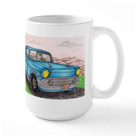 57' Chevy Belair Original Drawing Large Mug