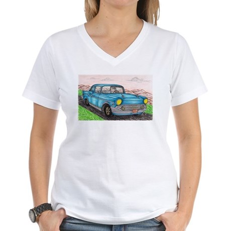 57' Chevy Belair Original Drawing Women's V-Neck T