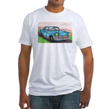 57' Chevy Belair Original Drawing Fitted T-Shirt
