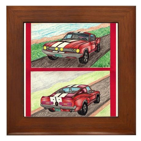 The Classic Mustang GT 500 Original Drawing Framed