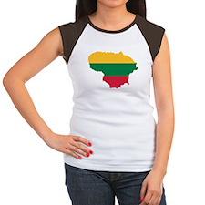 Lithuania map flag Women's Cap Sleeve T-Shirt